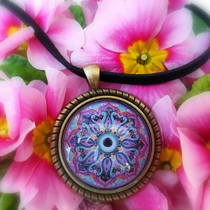 Mandala pendant golden cameo 30 mm/Support